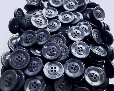 23mm 36L Grey Dark Charcoal Pearlescent 4 Hole Jacket Craft Coat Buttons W354