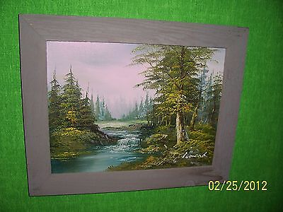 Stream In The Wood, Original Canvas  Oil Painting, Wood Frame And Hardware.
