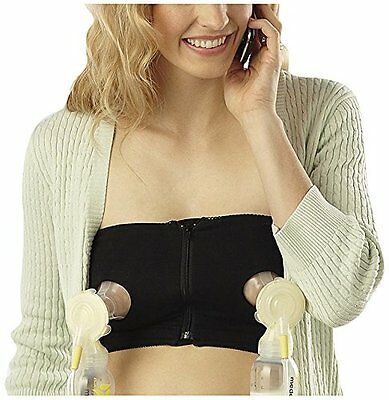 Medela Easy Expression Hands Free Bustier Breast Feeding Pumping Bra Black SMALL