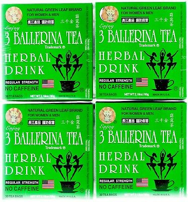4 X 3 Ballerina Tea REGULAR STRENGTH 30 Tea Bags Slim Tea Diet Tea Drink