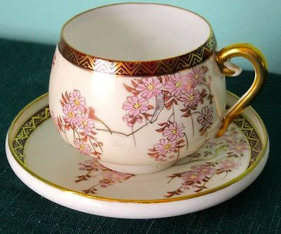 Antique Japanese Meiji Eggshell Hand Painted Gold Gild Porcelain Cup & Saucer