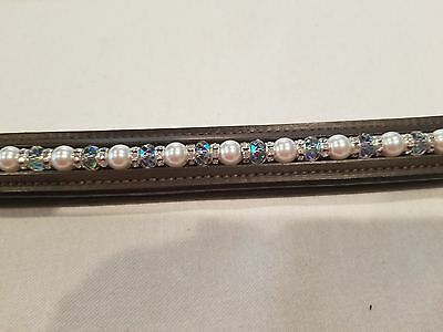 """16"""" Brown Leather Browband w/ White Pearls, Clear Crystals & Clear Rondells"""