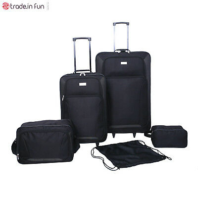5pc Travel Luggage Set Wheeled Carry On Family Bags Rolling Suitcase Trip Black