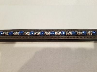 """16"""" Brown Leather Browband w/ Blue Pearls, Metal Beads & Clear Rondells"""