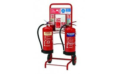 Double Fire Extinguisher Point Stand Site Trolley With Backboard For Alarm