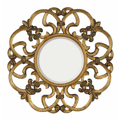 MAJESTIC MIRROR GOLD Decor Traditional Round Frame Bevel Glass 30 in ...