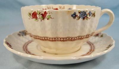 Rosalie Footed Cup & Saucer Set Copeland Spode England Red Flowers (O) AS IS #1
