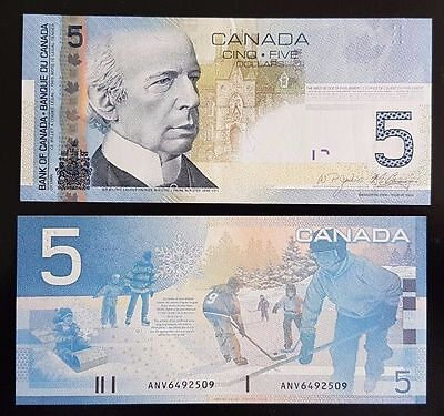 100X Bank of Canada $5 Uncirculated Notes, Canadian Bill Paper Money, Sequential