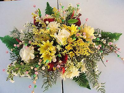 Dainty Spray Yellow Pink Fern Silk Flowers Table Nook Arrangements Garden Party