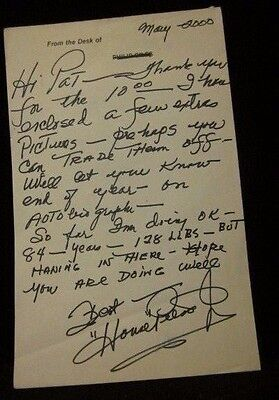 """House Peters (Dec'd 2008) Actor Handwritten And Signed Letter """"Mr. Clean"""" W/Coa"""