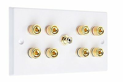 4.1 Surround Sound Speaker Wall Plate with Gold Binding Posts + RCA Socket NO