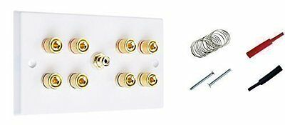 4.1 Surround Sound Speaker Wall Plate with Gold Binding Posts + RCA Socket + +