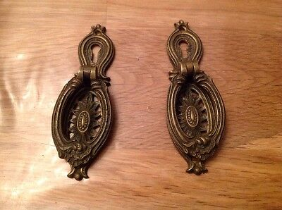 Antique Brass Drawer Cupboard Handles Set Of 2 Lock Face 35x100mm