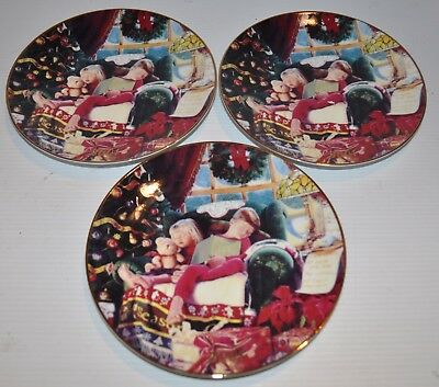 - lot of 3 CHRISTMAS DREAMS Mike Wimmer 2001 AVON Christmas Plate -