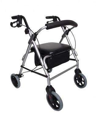 Angel Mobility Rollator 4 Wheeled Walker with Seat Walking Frame Zimmer Wheeled