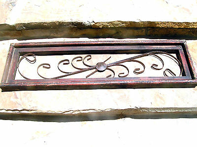 Scrolled iron Wall Hang topper pediment in distressed red wood frame 1041