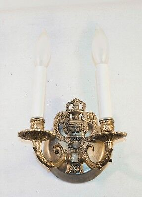 Vintage Ornate Cast Iron Brass Electric Wall Sconce Candle Light Fixture