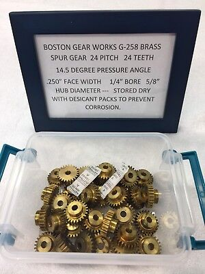 "Boston Gear Brass G258 Spur Pinion Gear 24 Pitch 1/4"" Bore Clock Lathe Telescope"