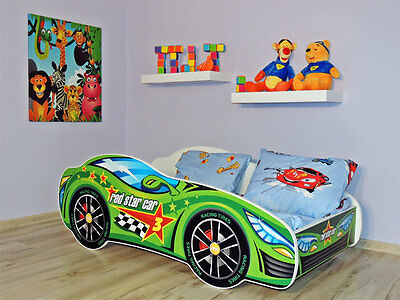 Racing Car Bed GREEN, Childrens Bed with mattress (140x70cm) for Kids + Pillow