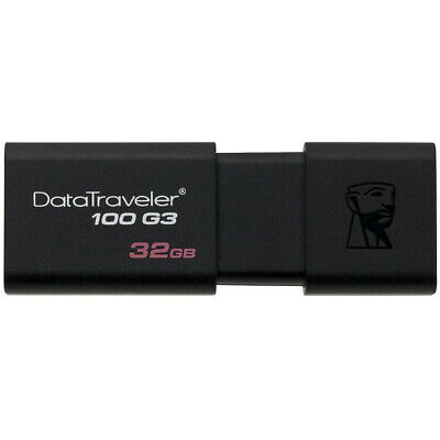 Kingston DataTraveler100 G3 32GB USB 3.0 Flash Stick Pen Memory Drive - Black Kj