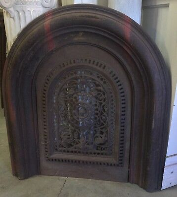 Antique Salvaged Ornate Arched Fireplace Surround With Insert C & W French Chic