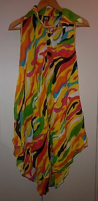 Vintage Bright Cotton Summer Beach Dress / Cover Up  Medium Excellent Condition