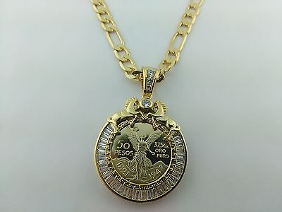 Centenario Coin Small size with Horses  and baggetes Bezel with necklace