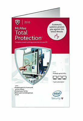 Brand New McAfee Total Protection 2015 3PC Retail Version Keycard  FLASH SALE!!