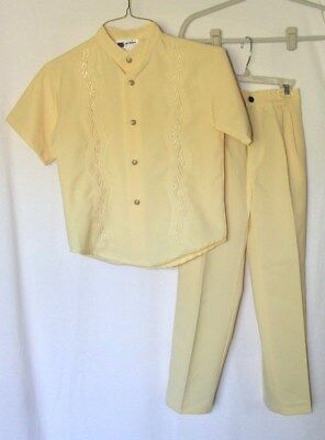 JB Boys Fashion USA 2 Piece Polyester Embroidered Yellow Suit Sz 10