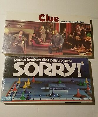 SEALED 1972 Parker Brothers Board Games - Sorry (No. 0390) and Clue (No. 45)