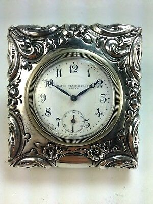 Antique Sterling Silver Black Starr & Frost NY Swiss 8 Day Clock