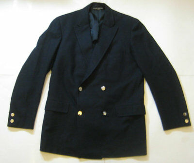 "BROOKS BROTHERS ""346"" 42R Rich Navy Blue Double Breasted Gold Buttons Blazer Vtg"