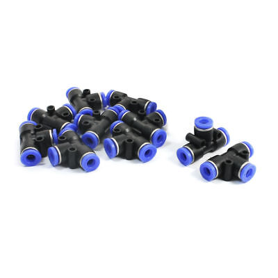 10 Pcs Black Blue Equal 6mm Joint 3 Ways T-Shaped Pneumatic Push In Fittings