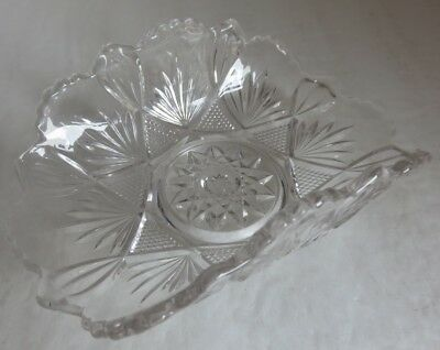 Small Vintage Cut Glass Canding Serving Dish                     (Inv14546)