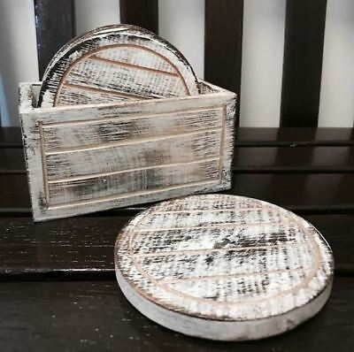 Set of 6 Handmade/Handcrafted Wood/Wooden/Timber Natural Round Rustic Coasters