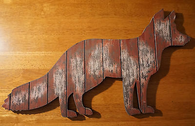 """Large 18"""" Rustic Weathered Country Primitive Wood Plank Home Decor Fox Sign NEW"""