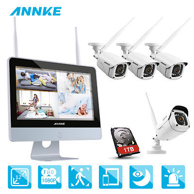 """ANNKE 2MP Wireless WIFI 4CH 1080P NVR 12"""" Monitor Network IP Cameras System 1TB"""