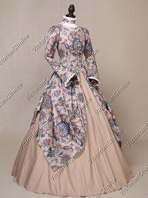 Victorian Royal Queen Princess Winter Party Dress Gown Theater Clothing N 156