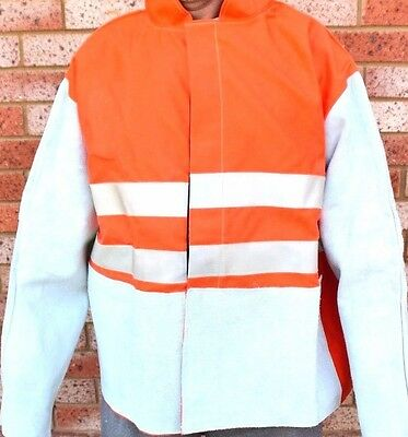 HI VIS DAY-NIGHT Welding Jacket with Leather Sleeves Size Medium for MIG TIG