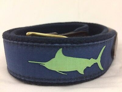 Boys Size 28 Vineyard Vines Preppy Canvas Fish Leather Belt Great Shape ~B03