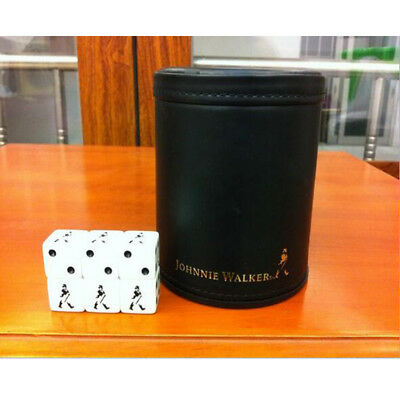 Whisky Johnnie Walker Sign Leather Cup 6 JW Dice Casino Party Entertaining Dices