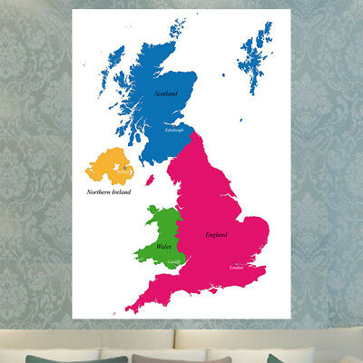 Map Of Great Britain Countries Educational Poster Print A4 A3 Uk England Wales