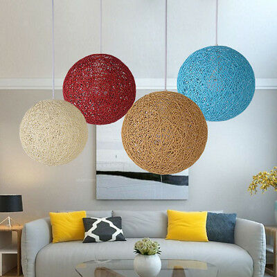 E27 Base Rattan Wicker Ceiling Pendant Lampshade Hanging Lamp, 20cm Flaxen