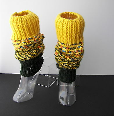 Hand Knit ART Thick Textured Long Leg Warmers in 100% WOOL Mohair