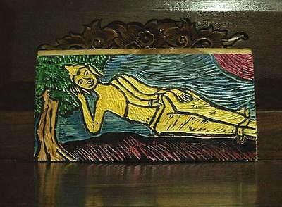 "Old Picture ""buddha"" Carved & Paint On Wood Teak Art From Chiankhan Thai Craft"
