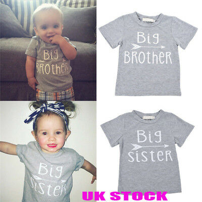 UK Kids Baby Boy Big Brother Big Sister T shirt Tops Cotton Clothes Outfits