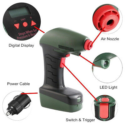 Air Dragon Handheld Portable Air Compressor LED Lite LCD Screen Home Garden Tool