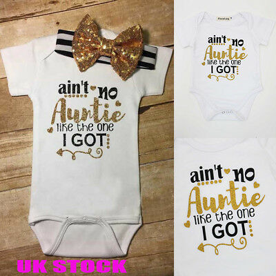 UK Girls Ain't no auntie Outfits Sets Infant Baby Jumpsuit Romper Clothes