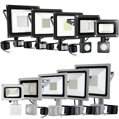 LED Floodlight PIR Motion Sensor 10/20/30/50/100W Security Light Warm Cool White
