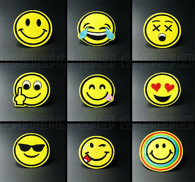 Smiley Emoji Faces Embroidered Patch Applique Iron On / Sew On Clothing Patches